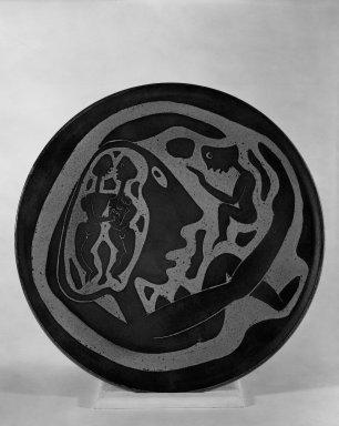 Edwin Scheier. Plate, ca. 1952. Glazed earthenware, 16 3/4 in. (42.5 cm). Brooklyn Museum, H. Randolph Lever Fund, 67.76.1. Creative Commons-BY