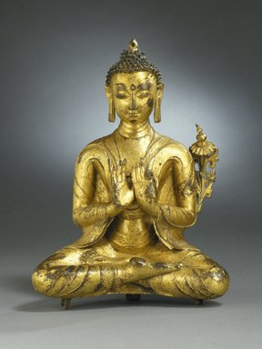 Seated Maitreya, 13th-14th century. Gilt copper alloy, 10 1/4 x 7 1/2 x 3 in. (26 x 19.1 x 7.6 cm). Brooklyn Museum, Charles Stewart Smith Memorial Fund, 67.80. Creative Commons-BY