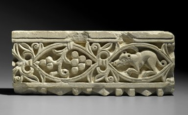 Plant Scroll Enclosing Grapes and an Animal, 5th-6th century C.E. Limestone, 7 x 17 11/16 x 7 1/4 in. (17.8 x 45 x 18.4 cm). Brooklyn Museum, Charles Edwin Wilbour Fund, 68.150.2. Creative Commons-BY