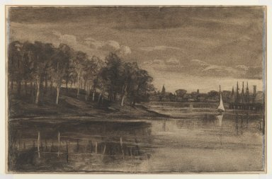 William Morris Hunt (American, 1824-1879). Landscape - Lake Scene, n.d. Charcoal and chalk on paper, Sheet: 11 5/16 x 17 1/2 in. (28.7 x 44.5 cm). Brooklyn Museum, Gift of The Roebling Society, 68.167.1