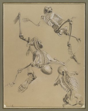Daniel Huntington (American, 1816-1906). Study of Skeletons, July 1848. Black and white chalk and black crayon on tan paper mounted to paperboard, Sheet (irregular): 21 9/16 x 16 7/16 in. (54.8 x 41.8 cm). Brooklyn Museum, Gift of The Roebling Society, 68.167.2