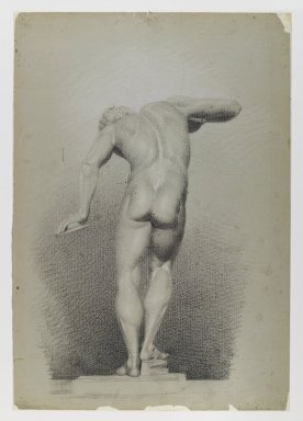 Daniel Huntington (American, 1816-1906). Nude Study, ca. 1848. Black and white crayon on blue-green, medium-weight, slightly textured wove paper, Sheet: 21 3/4 x 15 1/8 in. (55.2 x 38.4 cm). Brooklyn Museum, Gift of The Roebling Society, 68.167.5