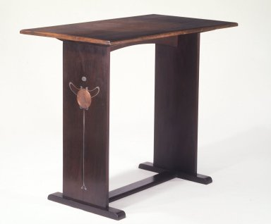 Harvey Ellis (1852-1942). Table, ca.1903. Oak, inlaid copper and pewter, paint, 30 x 35 5/8 x 20 in. (76.2 x 90.5 x 50.8 cm). Brooklyn Museum, Gift of The Roebling Society, 68.183.2. Creative Commons-BY