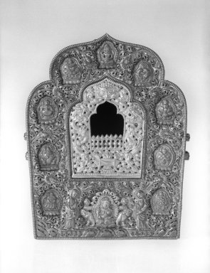 Gahu, or Amulet Case for Image of a Deity, 18th-19th century. Silver, copper, and brass, 7 5/8 x 5 15/16 x 3 1/2 in. (19.4 x 15.1 x 8.9 cm). Brooklyn Museum, Gift of Mr. and Mrs. Paul E. Manheim, 68.185.3. Creative Commons-BY
