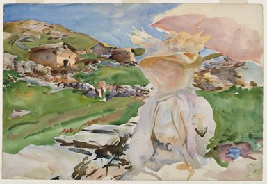 John Singer Sargent (American, 1856-1925). In the Simplon Pass, 1909. Translucent watercolor and touches of opaque watercolor and wax resist with graphite underdrawing, sheet: 14 7/16 x 21 3/16 in. (36.7 x 53.8 cm). Brooklyn Museum, Gift of The Roebling Society, 68.186