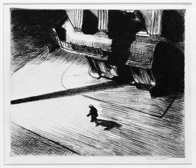 Edward Hopper (American, 1882-1967). Night Shadows, 1921. Etching, Sheet: 11 x 13 3/4 in. (27.9 x 34.9 cm). Brooklyn Museum, Gift of Mrs. Edwin De T. Bechtel, 68.192.17
