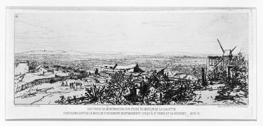 Maxime Lalanne (French, 1827-1886). Batterie De Montmarte Prise Du Moulin De La Galette, 1870-1871. Etching on laid paper, 4 1/4 x 9 1/2 in. (10.8 x 24.1 cm). Brooklyn Museum, Gift of Mrs. Edwin De T. Bechtel, 68.192.31