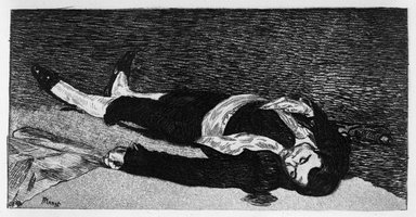 Édouard Manet (French, 1832-1883). The Dead Toreador (Torero mort), 1868. Etching and aquatint on laid Van Gelder Zonen paper, 5 15/16 x 8 11/16 in. (15.1 x 22 cm). Brooklyn Museum, Gift of Mrs. Edwin De T. Bechtel, 68.192.33