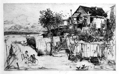 John W. Winkler (American, born Austria, 1890-1979). Fisherman's Home on Telegraph Hill (plate B), 1921. Etching on paper, 5 7/8 x 9 5/8 in. (14.9 x 24.4 cm). Brooklyn Museum, Gift of Mrs. Edwin De T. Bechtel, 68.192.54. © Estate of John W. Winkler
