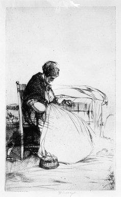 John W. Winkler (American, born Austria, 1890-1979). Marchande Endormie, (Sleeping Peddler Woman), 1923. Etching on paper, 7 1/4 x 4 7/16 in. (18.4 x 11.3 cm). Brooklyn Museum, Gift of Mrs. Edwin De T. Bechtel, 68.192.55. © Estate of John W. Winkler