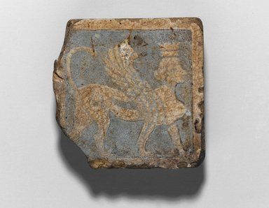 Tile with Winged Crowned Female Sphinx, 3rd century B.C.E. Faience, glazed, 2 3/8 x 2 3/8 x 5/8 in. (6.1 x 6.1 x 1.6 cm). Brooklyn Museum, Charles Edwin Wilbour Fund, 68.19. Creative Commons-BY