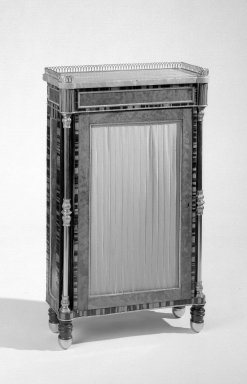 British. Bookcase, ca. 1820. Calamander and zebrawood inlaid on oak and deal, Overall: 36 1/2 x 21 1/2 x 8 1/2 in. (92.7 x 54.6 x 21.6 cm). Brooklyn Museum, Gift of the Estate of Mary Hayward Weir, 68.202.13. Creative Commons-BY