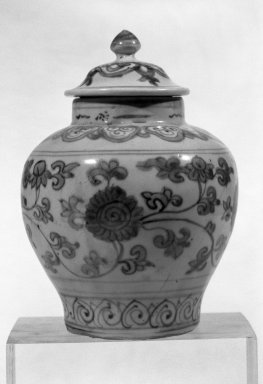 Jar with Cover, second half of 16th century. Porcelain with underglaze, H (without cover): 4 5/8 in. (11.7 cm). Brooklyn Museum, Gift of Mr. and Mrs. Paul E. Manheim, 68.206.5a-b. Creative Commons-BY