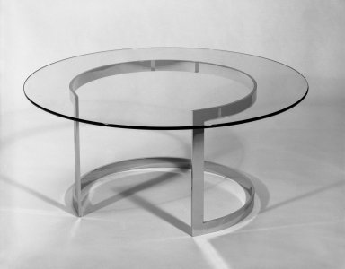 Neal Small Designs, Inc.. Coffee Table, ca. 1968. Glass, chromium plated steel, 16 x 36 in. (40.6 x 91.4 cm). Brooklyn Museum, Gift of Neal Small, 68.20a-b. Creative Commons-BY