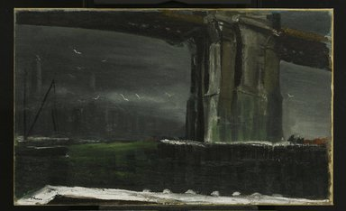 William Thon (American, 1906-2000). Under the Brooklyn Bridge, 1944. Oil on canvas, Image: 22 1/4 x 36 1/4 in. (56.5 x 92.1 cm). Brooklyn Museum, Gift of Midtown Galleries, 68.211. © Portland Museum of Art, Maine. All rights reserved.