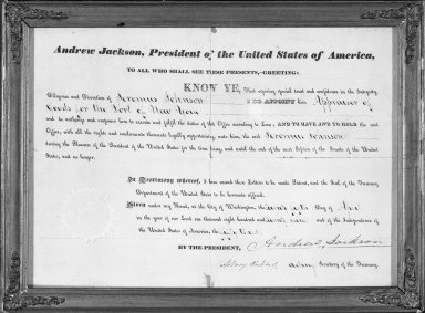 Certificate Naming Geromus Johnson Appraiser of Goods for the Port of New York. Paper Brooklyn Museum, Dick S. Ramsay Fund, 68.213.3