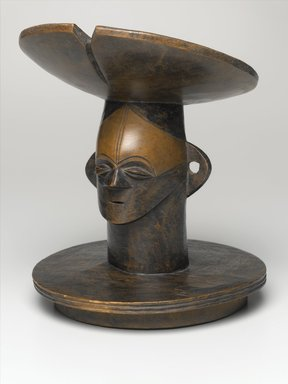 Mangbetu. Lid with Figurative Head, 19th century. Wood, stain, 11 x 9 x 9 in. (27.9 x 22.9 x 22.9 cm). Brooklyn Museum, Ella C. Woodward Memorial Fund, 68.33. Creative Commons-BY