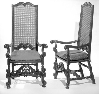 Cane Back Armchair, One of Pair, ca. 1900. Walnut?, cane, 53 1/2 x 26 x 25 in. (135.9 x 66 x 63.5 cm). Brooklyn Museum, Gift of Mrs. Daniel Catlin, 68.86.1. Creative Commons-BY