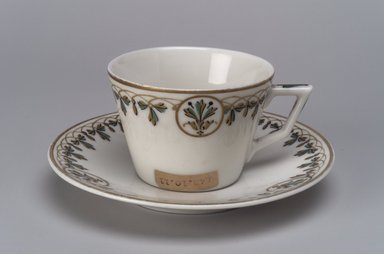 Union Porcelain Works (1863-ca.1922). Small Cup and Saucer, ca. 1880. Porcelain, (a) Cup: 1 15/16 x 3 1/2 x 2 3/4 in. (4.9 x 8.9 x 7 cm). Brooklyn Museum, Gift of Franklin Chace, 68.87.11a-b. Creative Commons-BY