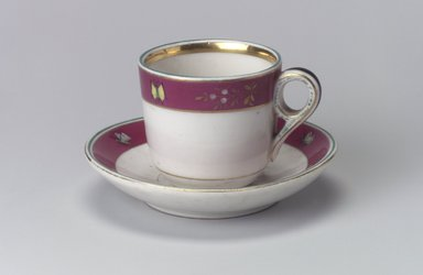 Union Porcelain Works (1863-ca.1922). Cup and Saucer, ca. 1879. Porcelain, Cup (a): 2 1/2 x 3 9/16 x 2 5/8 in. (6.4 x 9 x 6.7 cm). Brooklyn Museum, Gift of Franklin Chace, 68.87.15a-b. Creative Commons-BY