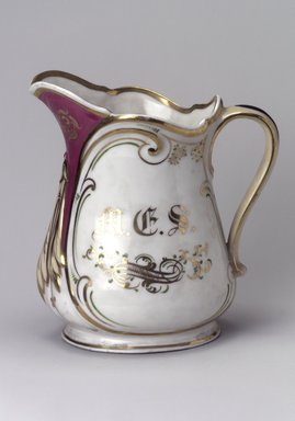 Union Porcelain Works (1863-ca. 1922). Pitcher, ca. 1879. Porcelain, 8 1/4 x 7 1/2 x 5 1/8 in. (21 x 19.1 x 13 cm). Brooklyn Museum, Gift of Franklin Chace, 68.87.27. Creative Commons-BY