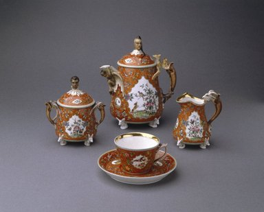 Union Porcelain Works (1863-circa 1922). Sugar Bowl and Cover, ca. 1876. Porcelain, Height: 4 1/2 in. (11.4 cm). Brooklyn Museum, Gift of Franklin Chace, 68.87.30a-b. Creative Commons-BY