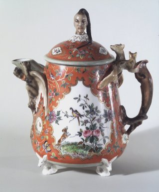 Union Porcelain Works (1863-circa 1922). Teapot with Cover, ca. 1876. Porcelain, Height: 6 3/4 in. (17.1 cm). Brooklyn Museum, Gift of Franklin Chace, 68.87.32a-b. Creative Commons-BY