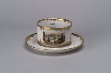 Union Porcelain Works (1863-ca.1922). Tea Cup and Saucer, ca. 1894. Porcelain, (a) Tea Cup: 2 x 4 1/4 x 3 3/8 in. (5.1 x 10.8 x 8.6 cm). Brooklyn Museum, Gift of Franklin Chace, 68.87.49a-b. Creative Commons-BY