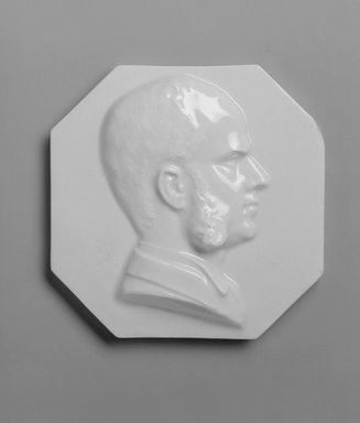 Attributed to Karl L. H. Mueller (American, born Germany, 1820-1887). Plaque, Portrait of Charles H. L. Smith, late 19th century. Porcelain, diameter: 5 3/4 in. (14.6 cm). Brooklyn Museum, Gift of Franklin Chace, 68.87.56. Creative Commons-BY