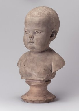 Karl L. H. Mueller (American, born Germany, 1820-1887). Bust of a Baby on Pedestal, late 19th century. Unglazed terracotta, 12 x 7 1/4 x 5 1/2 in. (30.5 x 18.4 x 14 cm). Brooklyn Museum, Gift of Franklin Chace, 68.87.58. Creative Commons-BY