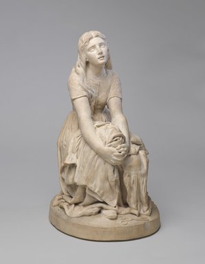 "Karl L. H. Mueller (American, born Germany, 1820-1887). Figure, ""Stitch, Stitch, Stitch,"" 1877. Terra cotta, 21 1/2 x 12 x 14 1/2 in. (54.6 x 30.5 x 36.8 cm). Brooklyn Museum, Gift of Franklin Chace, 68.87.59. Creative Commons-BY"