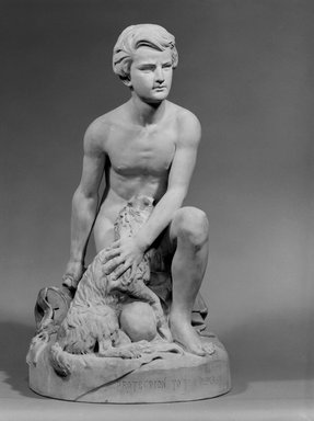 "Karl L. H. Mueller (American, born Germany, 1820-1887). ""Protecting the Dumb,"" late 19th century. Terra cotta, 24 x 13 5/8 x 14 1/8 in. (61 x 34.6 x 35.9 cm). Brooklyn Museum, Gift of Franklin Chace, 68.87.60. Creative Commons-BY"