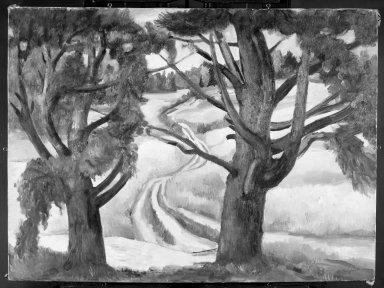 Bernard Karfiol (American, born Hungary, 1886-1952). Two Trees. Oil on canvas, 33 x 42 in. (83.8 x 106.7 cm). Brooklyn Museum, Gift of George Karfiol, Jr. in memory of his father, 68.93. © Estate of Bernard Karfiol, courtesy of Forum Gallery, New York