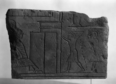 Relief of Mourning Men, Roughly Rectangular Slab, ca. 1352-1336 B.C.E. Limestone, 9 9/16 x 14 3/16 x 7/8 in. (24.3 x 36 x 2.3 cm). Brooklyn Museum, Charles Edwin Wilbour Fund, 69.114. Creative Commons-BY