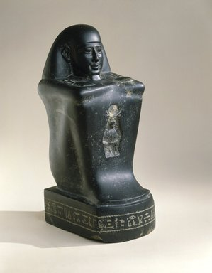 Block Statue of a High Official, 305-30 B.C.E. Diorite, 15 3/8 x 6 9/16 x 7 7/8 in., 42.5 lb. (39 x 16.7 x 20 cm, 19.28kg). Brooklyn Museum, Charles Edwin Wilbour Fund, 69.115.1. Creative Commons-BY