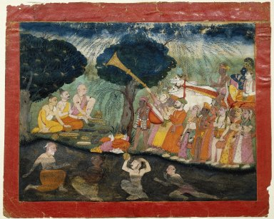 Indian. Krishna and Balarama on Their way to Mathura, Folio from a Dispersed Bhagavata Purana Series, ca. 1725. Opaque watercolor and gold on paper, sheet: 9 1/2 x 12 in.  (24.1 x 30.5 cm). Brooklyn Museum, Gift of Mr. and Mrs. Paul E. Manheim, 69.125.4