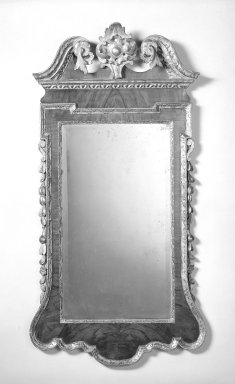Looking Glass, ca.1730. Mahogany veneer, gesso and gilt, 48 1/2 x 25 in. (123.2 x 63.5 cm). Brooklyn Museum, Gift of Mr. and Mrs. George Richard, 69.159.3. Creative Commons-BY