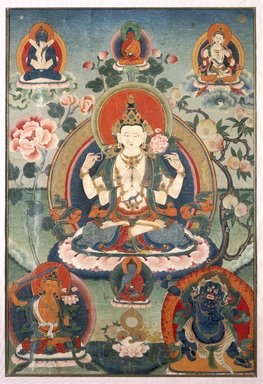 Bodhisattva Avalokitesvara (Chenrizi), 20th century. Color and gold on cotton, 24 3/8 x 17 1/8 in. (61.9 x 43.5 cm). Brooklyn Museum, Gift of Mr. and Mrs. Arthur Wiesenberger
