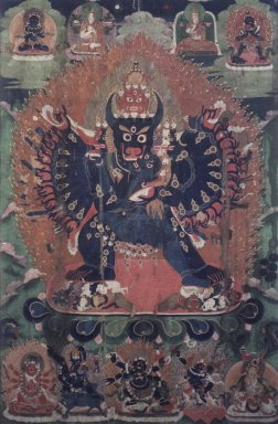 Anonymous. Vajrabhairava Yamantaka, 19th century. Color on cloth, Image: 33 x 21 1/2 in. (83.8 x 54.6 cm). Brooklyn Museum, Gift of Mr. and Mrs. Arthur Wiesenberger, 69.164.9