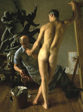 John Koch (American, 1909-1978). The Sculptor, 1964. Oil on canvas, 80 x 59 7/8 in.  (127.0 x 152.1 cm). Brooklyn Museum, Gift of the artist, 69.165. © Estate of John Koch