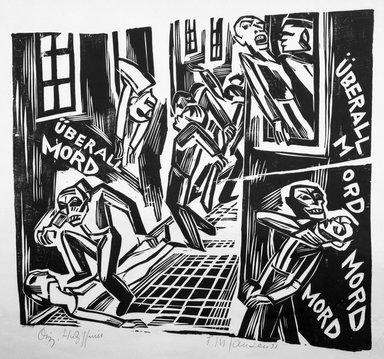 Franz M. Jansen (German, 1885-1958). Murder Everywhere, 1921. Woodcut on wove paper, 16 3/4 x 17 in. (42.5 x 43.2 cm). Brooklyn Museum, Gift of Elsa and Peter Neumann, 69.19.7