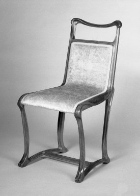 Side Chair, ca. 1900. Beechwood and old but not original textile, 69.38.1 - 35 x 18 x 22 in. (88.9 x 45.7 x 55.9 cm). Brooklyn Museum, Purchased with funds given by an anonymous donor and gift of Lillian Nassau, 69.38.1. Creative Commons-BY