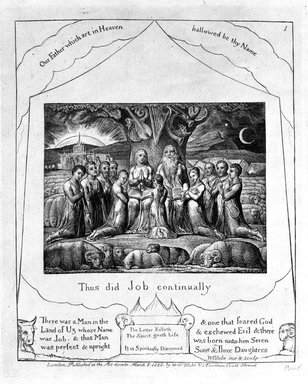 William Blake (British, 1757-1827). Thus Did Job Continually, from Illustrations of the Book of Job, 1825. Engraving, 8 5/16 x 6 7/16 in. (21.1 x 16.3 cm). Brooklyn Museum, Bequest of Mary Hayward Weir, 69.4.1b