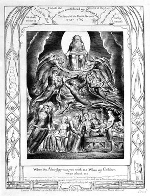 William Blake (British, 1757-1827). When The Almighty Was Yet With Me, When My Children Were About Me, from Illustrations of the Book of Job, 1825. Engraving, 8 5/16 x 6 7/16 in. (21.1 x 16.3 cm). Brooklyn Museum, Bequest of Mary Hayward Weir, 69.4.1c