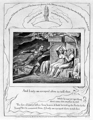 William Blake (British, 1757-1827). And Only I Am Escaped Alone to Tell Thee..., from Illustrations of the Book of Job, 1825. Engraving, 8 5/16 x 6 7/16 in. (21.1 x 16.3 cm). Brooklyn Museum, Bequest of Mary Hayward Weir, 69.4.1e