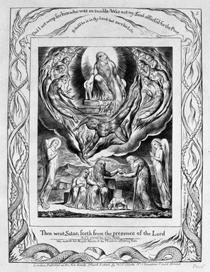 William Blake (British, 1757-1827). There Went Satan Forth from the Presence of the Lord, from Illustrations of the Book of Job, 1825. Engraving, 8 5/16 x 6 7/16 in. (21.1 x 16.3 cm). Brooklyn Museum, Bequest of Mary Hayward Weir, 69.4.1f