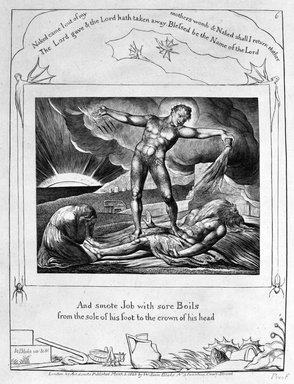 William Blake (British, 1757-1827). And Smote Job with Sore Boils from the Sole of his Feet to the Crown of his Head, from Illustrations of the Book of Job, 1825. Engraving, 8 5/16 x 6 7/16 in. (21.1 x 16.3 cm). Brooklyn Museum, Bequest of Mary Hayward Weir, 69.4.1g