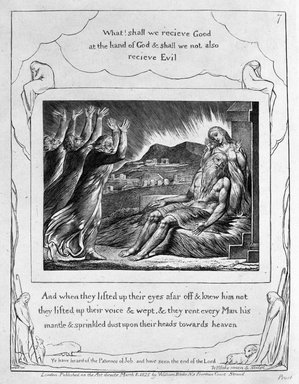 William Blake (British, 1757-1827). And When They Lifted Up Their Eyes Afar...(etc.), from Illustrations of the Book of Job, 1825. Engraving, 8 5/16 x 6 7/16 in. (21.1 x 16.3 cm). Brooklyn Museum, Bequest of Mary Hayward Weir, 69.4.1h