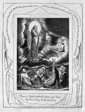 William Blake (British, 1757-1827). Let the Day Perish Wherein I Was Born, from Illustrations of the Book of Job, 1825. Engraving, 8 5/16 x 6 7/16 in. (21.1 x 16.3 cm). Brooklyn Museum, Bequest of Mary Hayward Weir, 69.4.1i