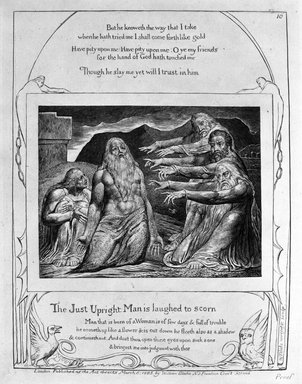William Blake (British, 1757-1827). The Just Upright Man is Laughed to Scorn, from Illustrations of the Book of Job, 1825. Engraving, 8 5/16 x 6 7/16 in. (21.1 x 16.3 cm). Brooklyn Museum, Bequest of Mary Hayward Weir, 69.4.1k